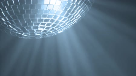 mirror : Disco ball with reflected moving blue rays, HD 1080i