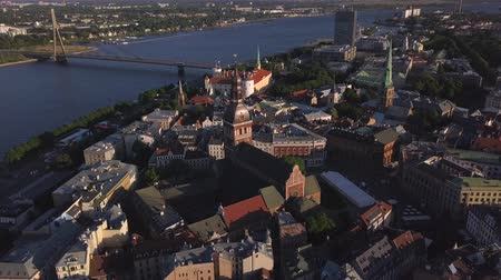 Cityscape aerial view on the old town with Dome cathedral and Daugava river in Riga city, Latvia