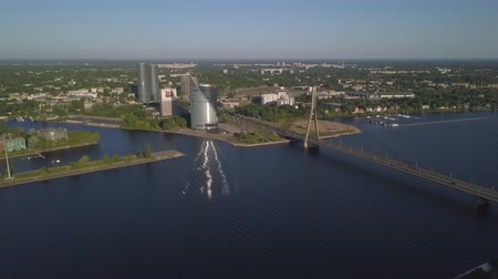Aerial view on Riga Automobile Cable-stayed bridge and Daugava river. Stock Footage