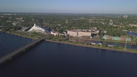 Aerial view on Riga national library Stock Footage