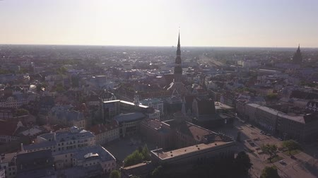 Aerial view over the Old Riga City on sunrise Stock Footage