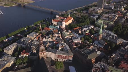 Aerial view over the Old Riga City. Stock Footage
