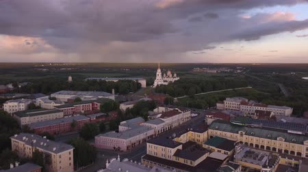 uspenskiy : Aerial view of Assumption Cathedral on sunset in Vladimir city