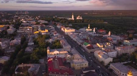 uspenskiy : Flight over the old city of Vladimir. Aerial view on Assumption Cathedral and Golden Gate. Russia.