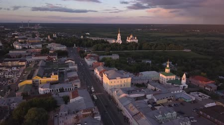 uspenskiy : Flight over the old city of Vladimir. Aerial view on Assumption Cathedral. Russia. Stock Footage
