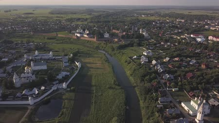 Flight on the drone over the Suzdal monasteries. Vladimir region Stock Footage