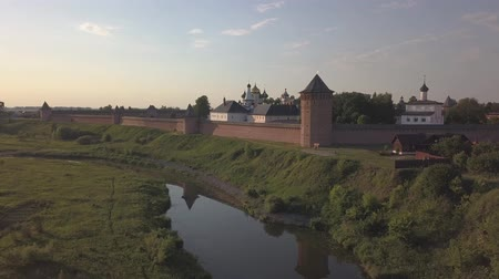 Aerial view on Saviour Monastery of Saint Euthymius and Kamenka river in Suzdal, Vladimir oblast, Russia