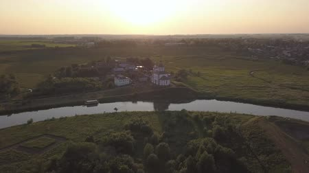 architectural heritage : Flight over the Ilinsky meadow and the church of Elijah the Prophet in Suzdal
