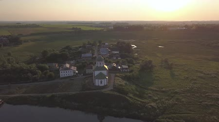 Flight over the Ilinsky meadow and the church of Elijah the Prophet in Suzdal
