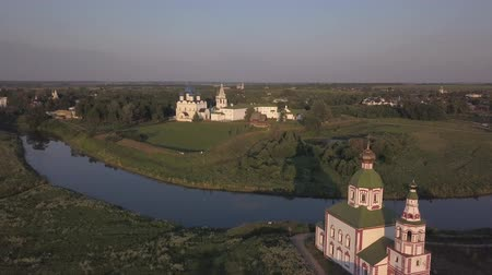 регионы : Aerial view of architectural ensemble of Suzdal Kremlin with Cathedral of the Nativity of the Virgin. Suzdal, Russia
