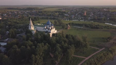 architectural heritage : Flight over the architectural ensemble of Suzdal Kremlin with Cathedral of the Nativity of the Virgin