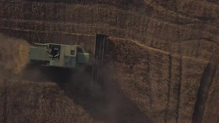 биотехнология : Aerial view of harvesters working on a large wheat field. Стоковые видеозаписи