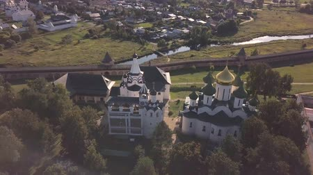convento : Flight over the Saviour Monastery of Saint Euthymius in Suzdal, Vladimir oblast, Russia Stock Footage