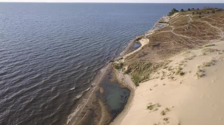 navy pier : Flight over the dunes of the Curonian spit next to Nida. Stock Footage