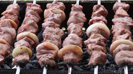cordeiro : Shashlik Pieces of pork or lamb Grilling pieces of meat while resting. Rotation skewers, Cooking meat on the grill.