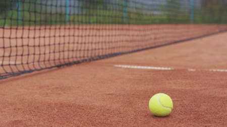 tennis game : Tennis ball on the court and in the background grid Stock Footage