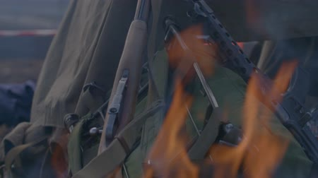 counterterrorism : historic weapons burn in the fire Stock Footage