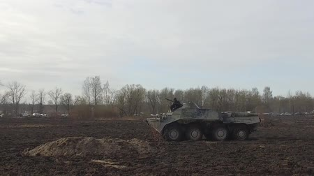 counterterrorism : RUSSIA ST.PETERBURG- 03 APRIL: armored infantry vehicle move through the countryside during military exercises