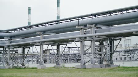 polymers : Metal pipeline equipment at oil refinery. Petrochemical industry