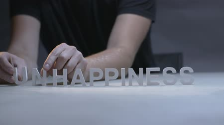 anlamı : Man hands changing word happiness for unhappiness by letters on gray background