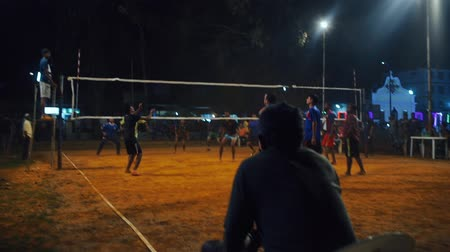 points of interest : Referee judges volleyball match during sportsman win point. INDIA, NEPAL , APRIL 2018