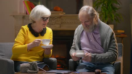 fed : Old age woman and retired pensioner drinking tea in cozy hotel room.