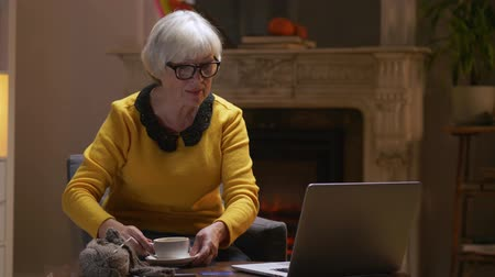 comprador : Elderly woman in glasses typing her credit card details on a laptop