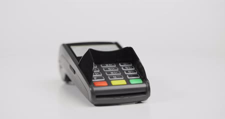 chip and pin : Credit card payment terminal isolated on white background