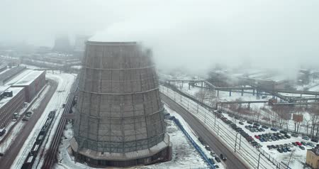 Cooling towers - a device for cooling a large amount of water directed air flow Stock mozgókép