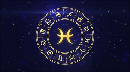 zodyak : Zodiac sign Pisces and horoscope wheel on the dark blue background Stok Video