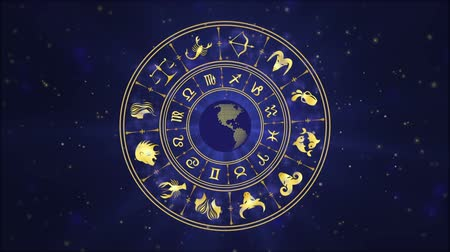 zodyak : Horoscope wheel, zodiac circle on the dark blue background with glowing particles Stok Video