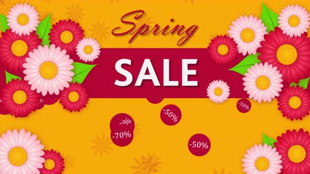 yelow : Spring sale, discout thirty, fifty and seventy percent on the yelow background with flowers