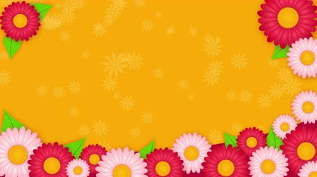 yelow : Abstract yelow background with white and pink flowers Stock Footage