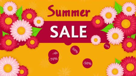 yelow : Summer sale, discout thirty, fifty and seventy percent on the yelow background with flowers Stock Footage