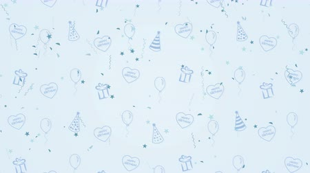 kartka urodzinowa : Abstract background Happy Birthday with balloons, party hats and hearts