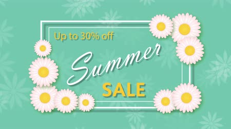 otuzlu yıllar : Summer sale, discount thirty percent with frame and flowers Stok Video