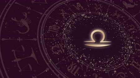 libra : Zodiac sign Libra and horoscope wheel Stock Footage
