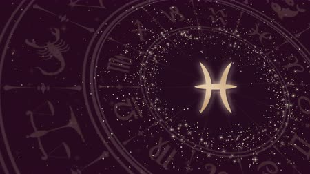 pisces : Zodiac sign Pisces and horoscope wheel Stock Footage