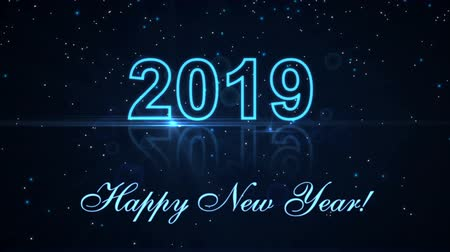 Happy New Year 2019 with glowing particles on the dark background