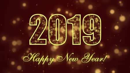 Happy New Year 2019 with glowing particles on the dark red background