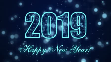 Happy New Year 2019 with glowing particles on the dark blue background