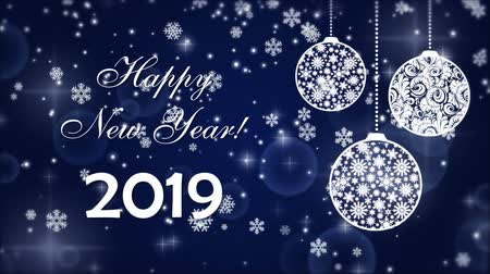 Happy New Year 2019 with falling snowflakes and Christmas tree balls Filmati Stock
