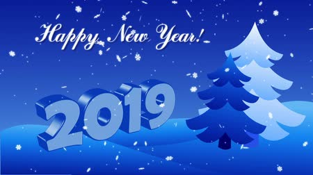 Happy New Year 2019 with christmas trees and snowflakes Stock Footage
