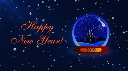 Happy New Year 2019 with snow glass globe and snowflakes Stock Footage