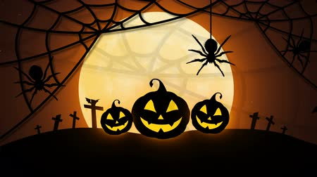 Happy Halloween with pumpkins, moon, bats and spider