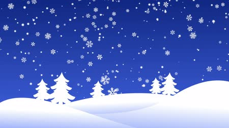 sniezynka : Winter background with christmas trees and snowflakes