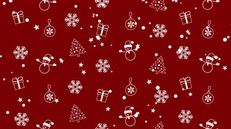 Christmas background pattern with Christmas trees, snowmen, snowflakes and Christmas balls Stock Footage