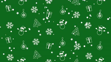 kardan adam : Christmas background pattern with Christmas trees, snowmen, snowflakes and Christmas balls Stok Video