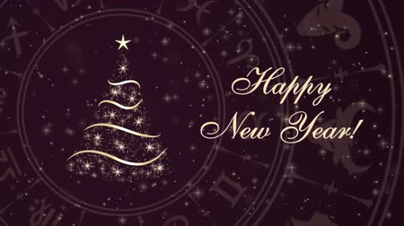 астрологический : Happy New Year with Christmas tree and Horoscope wheel, zodiac circle on the dark background with glowing particles Стоковые видеозаписи