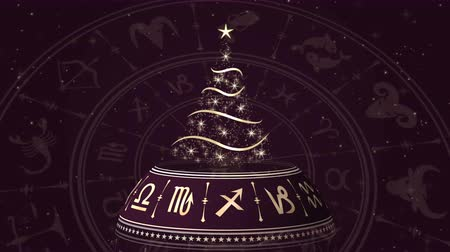 зодиак : Horoscope wheel, zodiac circle with Christmas tree on the dark background with glowing particles